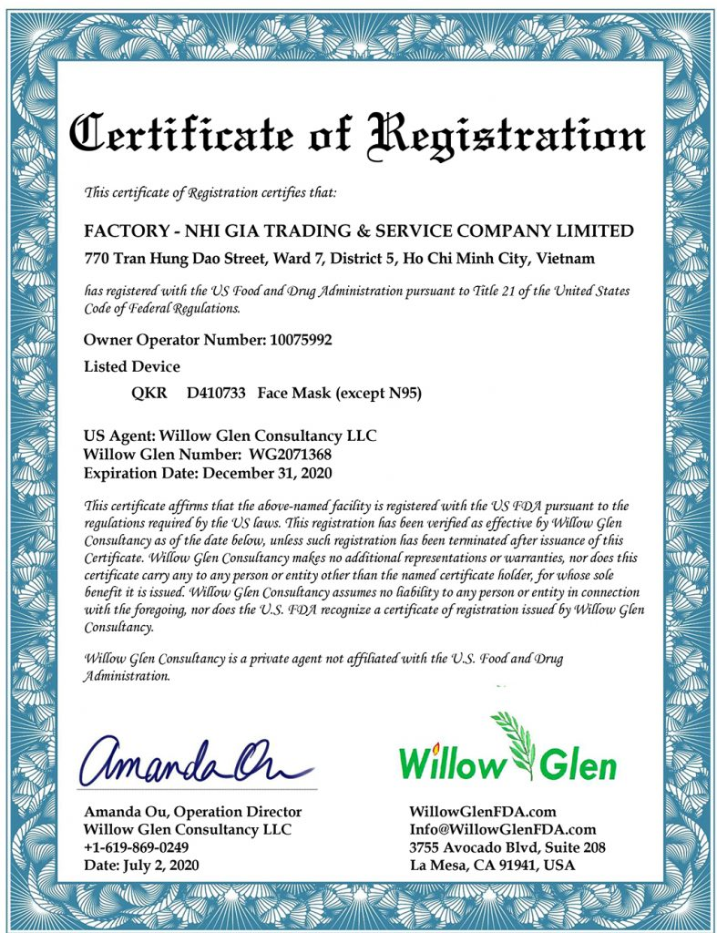 GoMask is also granted the certificate of conformity by the US Food and Drug Administration (F.D.A.).
